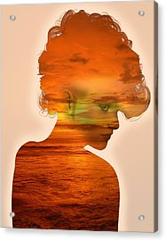 Woman And A Sunset Acrylic Print