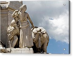 Acrylic Print featuring the photograph Woman And Bull, Marquis De Pombal Monument by Lorraine Devon Wilke