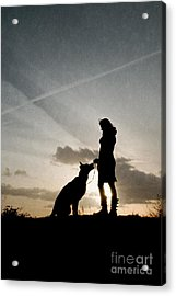Woman And Dog  Acrylic Print