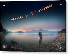 Woman And Girl Standing In Lake Watching Solar Eclipse Acrylic Print