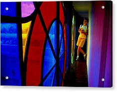 Woman And Stained Glass Acrylic Print