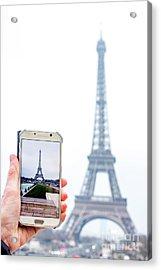 Woman Anonymous Photographing The Eiffel Tower. Paris. France. Europe. Acrylic Print by Bernard Jaubert