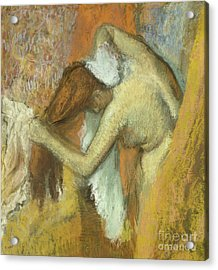 Woman At Her Toilette Acrylic Print by Edgar Degas