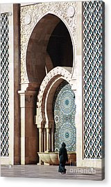 Woman At Mosque - Casablanca Acrylic Print by Linda  Parker