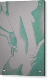 Acrylic Print featuring the drawing Woman Back Green by Fanny Diaz
