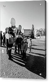 Acrylic Print featuring the photograph Woman Balloon And Boy by John Williams