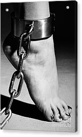 Woman Barefoot In Steel Cuffes Acrylic Print