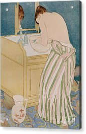 Woman Bathing Acrylic Print by Mary Stevenson Cassatt