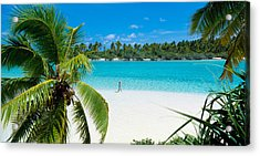 Woman Beach One Foot Island Cook Islands Acrylic Print by Panoramic Images