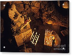 Woman Burning Candle At Troglodyte Sainte-marie Madeleine Holy Cave Acrylic Print by Sami Sarkis