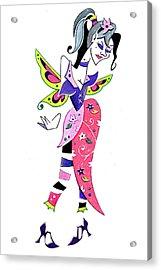 Woman Butterfly - Fairy Tale - Book Illustration Acrylic Print by Arte Venezia