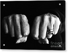 Woman Clenching Two Hands Into Fists In A Fit Of Aggression Acrylic Print by Sami Sarkis