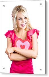 Woman Cuddling Love Heart Sign Acrylic Print