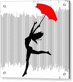 Woman Dancing In The Rain With Red Umbrella Acrylic Print