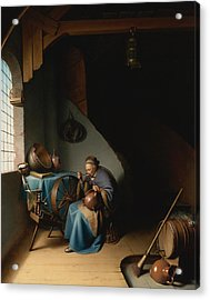 Woman Eating Porridge Acrylic Print by Gerrit Dou