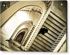 Woman Going Down At Staircase Acrylic Print