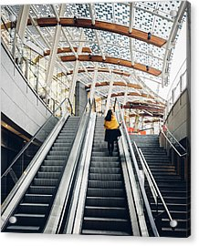 Woman Going Up Escalator In Milan, Italy Acrylic Print