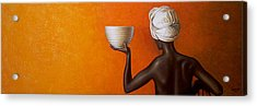 Woman Holding A Bowl Acrylic Print by Horacio Cardozo