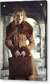 Woman Holding Suitcase Acrylic Print by Amanda Elwell