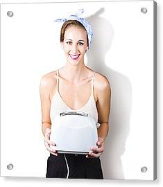 Woman Holding Toaster Acrylic Print