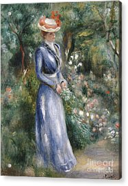 Woman In A Blue Dress Standing In The Garden At Saint-cloud Acrylic Print by Pierre Auguste Renoir