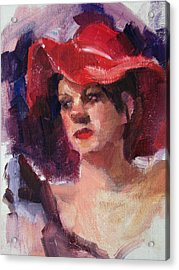 Woman In A Floppy Red Hat Acrylic Print by Merle Keller