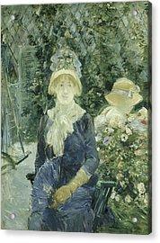 Woman In A Garden Acrylic Print by Berthe Morisot