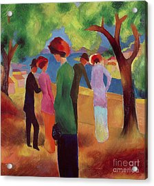 Woman In A Green Jacket Acrylic Print by August Macke