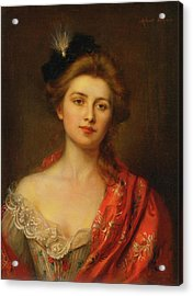 Woman In A Red Embroidered Shawl Acrylic Print by Albert Lynch