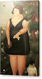 woman in Black Botero Acrylic Print
