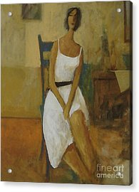 Acrylic Print featuring the painting Woman In Blue Chair by Glenn Quist