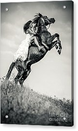 Acrylic Print featuring the photograph Woman In Dress Riding Chestnut Black Rearing Stallion by Dimitar Hristov