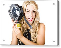 Woman In Fear Holding Gas Mask On White Background Acrylic Print