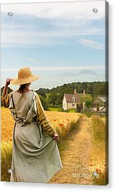 Woman In Field Acrylic Print by Amanda Elwell