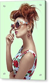 Woman In Floral Dress With Teased Hair Acrylic Print