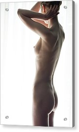 Woman In Front Of Curtain Acrylic Print