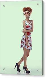 Woman In High Topknot With Slight Messy Tease Acrylic Print