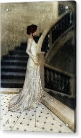 Woman In Lace Gown On Staircase Acrylic Print by Jill Battaglia