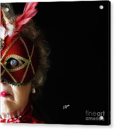 Woman In Mask  Acrylic Print by Steven Digman