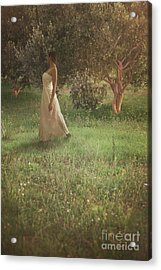 Woman In Olive Orchard Acrylic Print by Mythja Photography