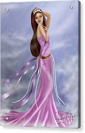Woman In Pink Gown Acrylic Print