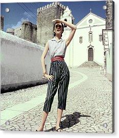 Woman In Portuguese Village Acrylic Print by Henry Clarke