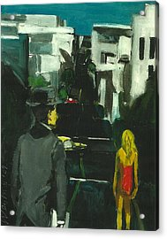 Woman In Red Dress Streets Of San Francisco  Acrylic Print by Harry  Weisburd