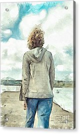 Woman In Rustico Harbor Prince Edward Island Acrylic Print by Edward Fielding