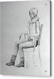 Woman In Scarf Acrylic Print by Mark Johnson