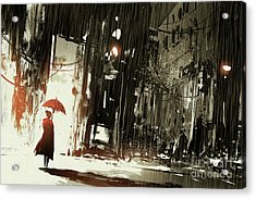 Woman In The Destroyed City Acrylic Print
