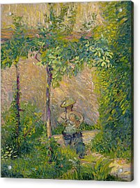 Woman In The Garden Acrylic Print by Hippolyte Petitjean