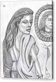 Woman In The Mirror Acrylic Print by Richard Heyman