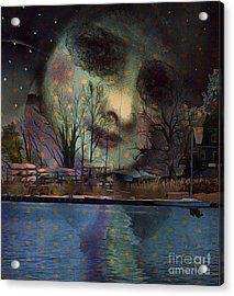 Woman In The Moon Acrylic Print by Alexis Rotella