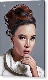 Woman In Updo With Large Curls Acrylic Print